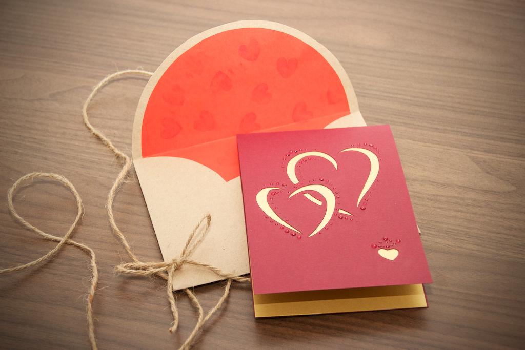 Golden Hearts Love Card