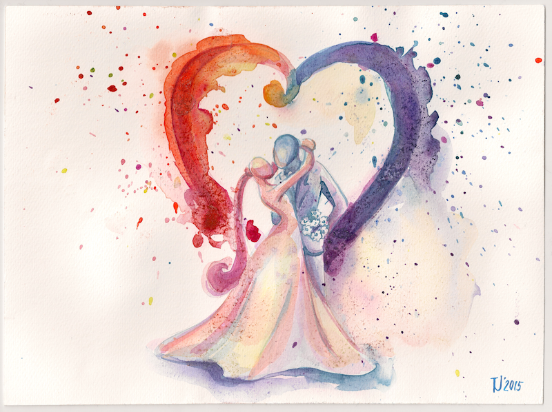 The Spouses watercolor painting