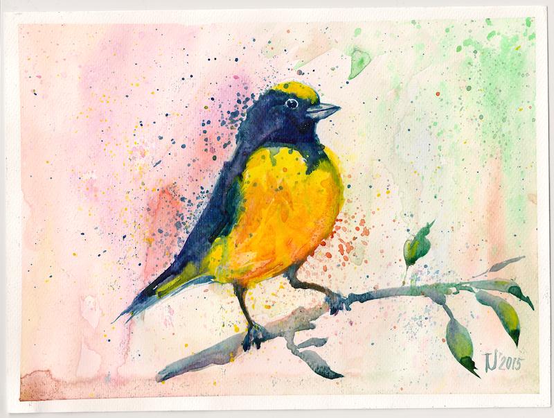 Yellow Bird painting April 2015