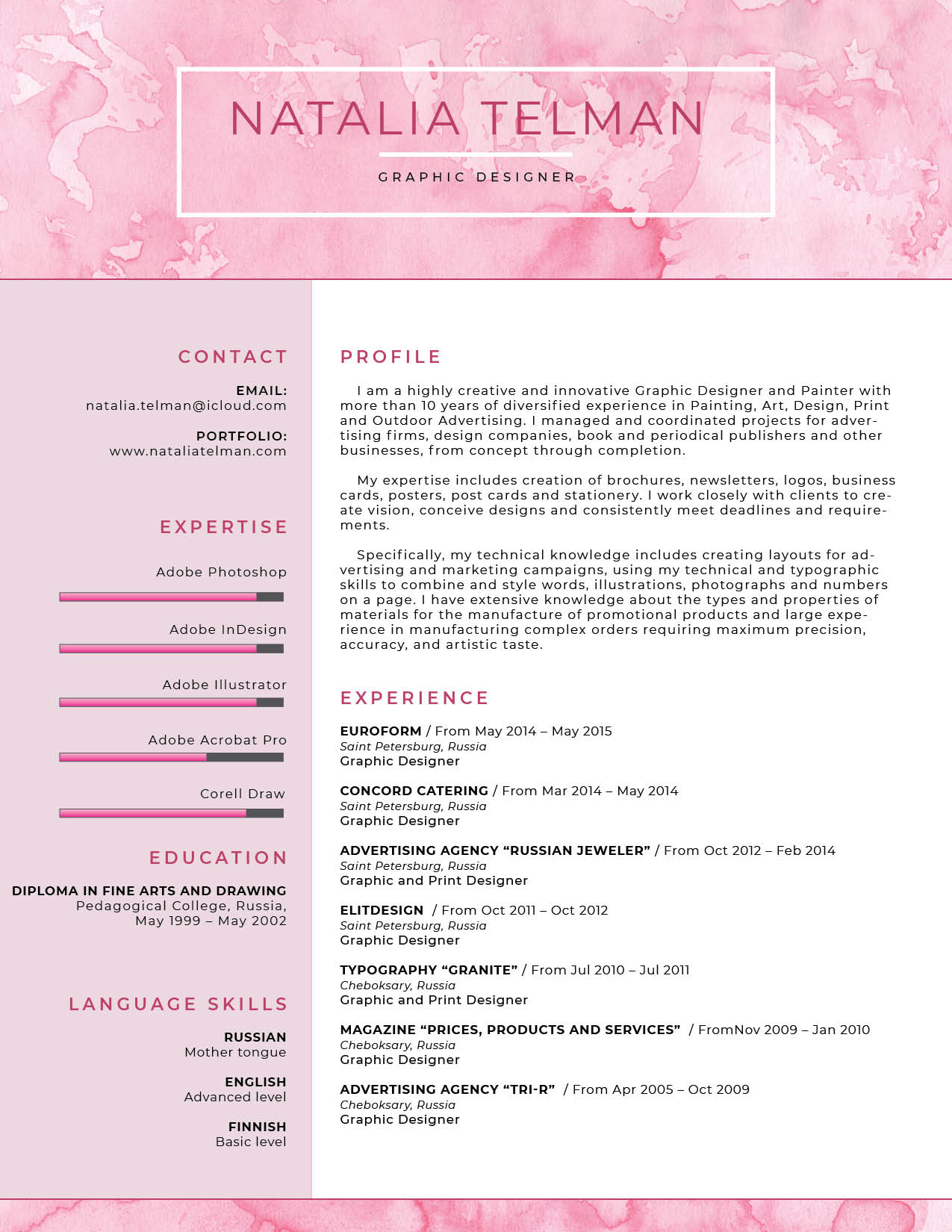 Visual resume with light pink colors and no icons