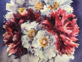 Watercolor paintings of flowers
